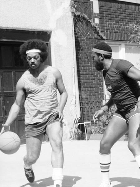 Jesse Jackson Marvin Gaye Playing Basketball